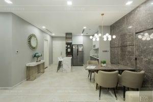 thi công nội thất chung cư hiện đại - phòng khách bếp 7