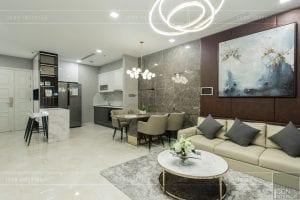 thi công nội thất chung cư hiện đại - phòng khách bếp 8