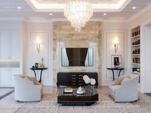 thiết kế biệt thự 2 tầng - phòng khách bếp 3