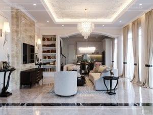 thiết kế biệt thự 2 tầng - phòng khách bếp 5