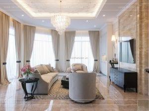 thiết kế biệt thự 2 tầng - phòng khách bếp 4