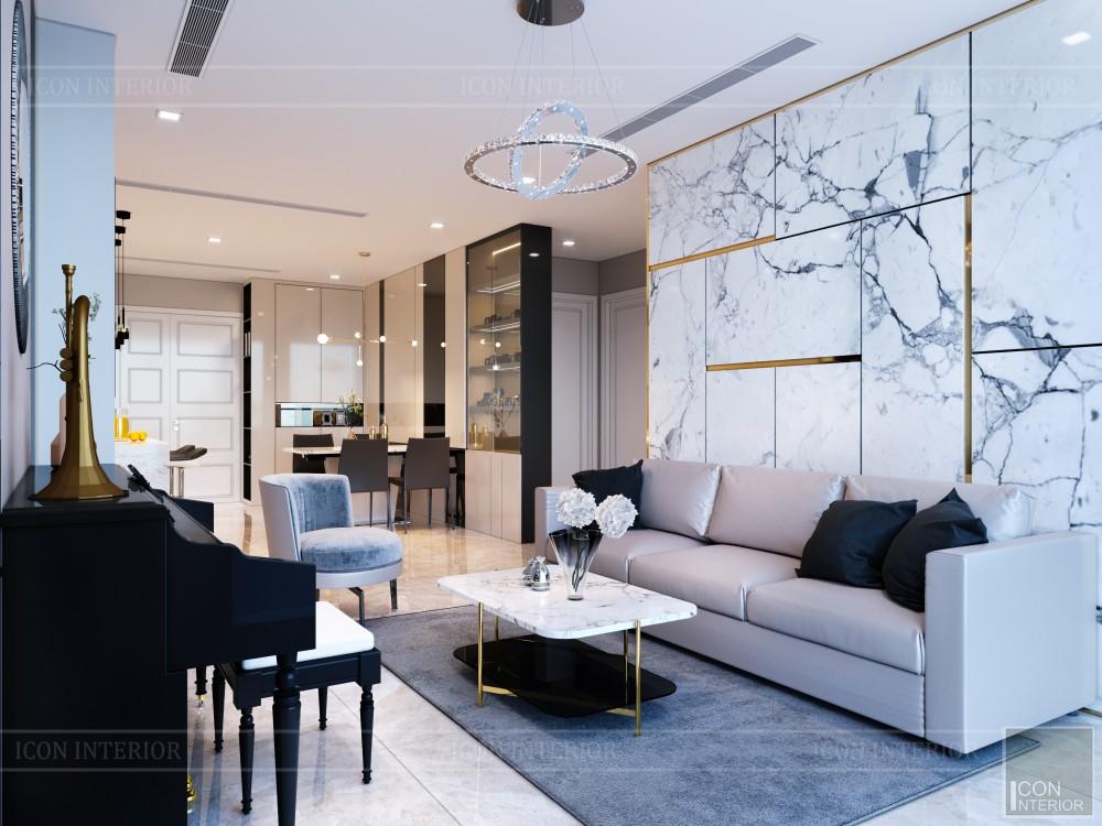 Thiết kế phòng khách nhà chung cư 70m2 Vinhomes Bason