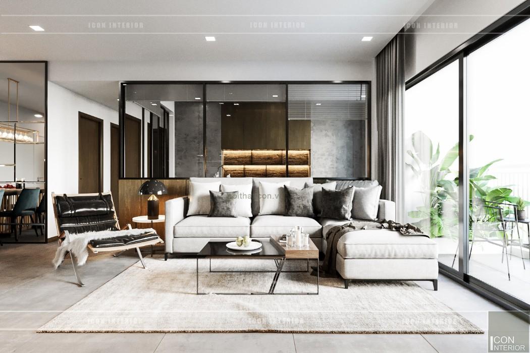thiết kế nội thất căn hộ sunrise cityview - phòng khách bếp