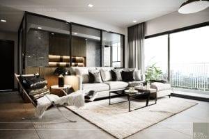 thiết kế nội thất căn hộ sunrise cityview - phòng khách bếp 3