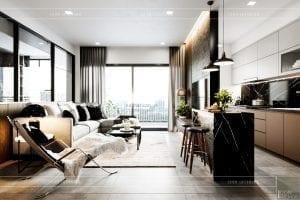 thiết kế nội thất căn hộ sunrise cityview - phòng khách bếp 2