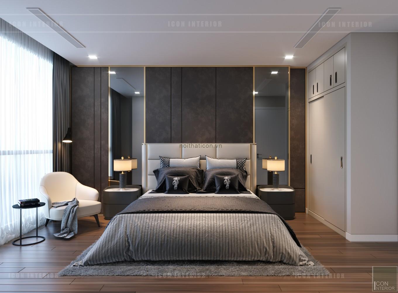 thiết kế nội thất căn hộ chung cư 90m2- phòng ngủ master