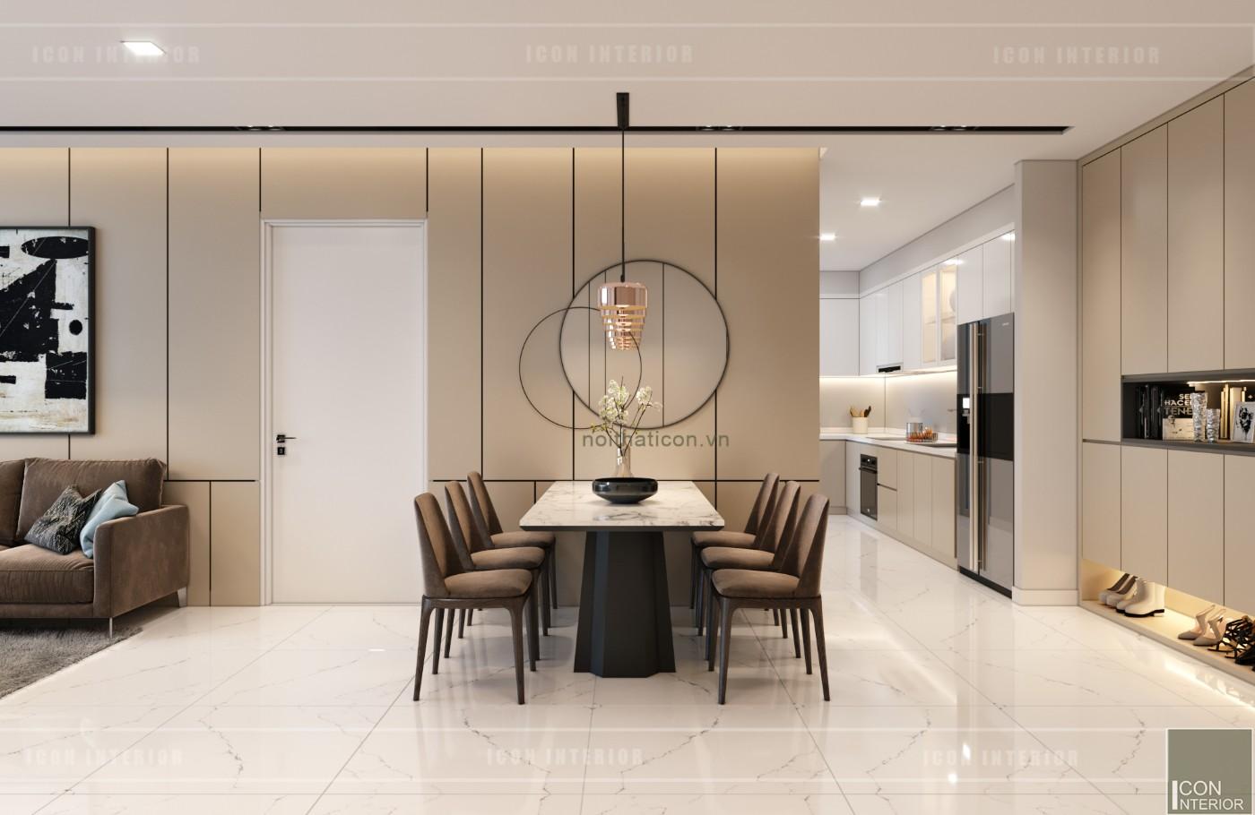 thiết kế nội thất căn hộ chung cư 90m2 - phòng ăn