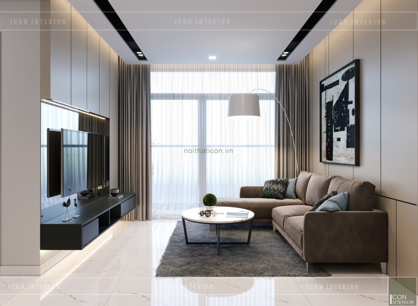 thiết kế nội thất căn hộ chung cư 90m2 - phòng khách