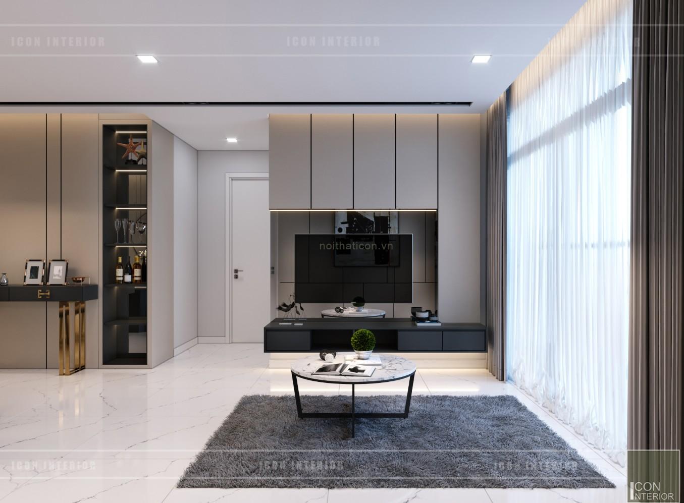 thiết kế nội thất căn hộ chung cư 90m2 phòng khách
