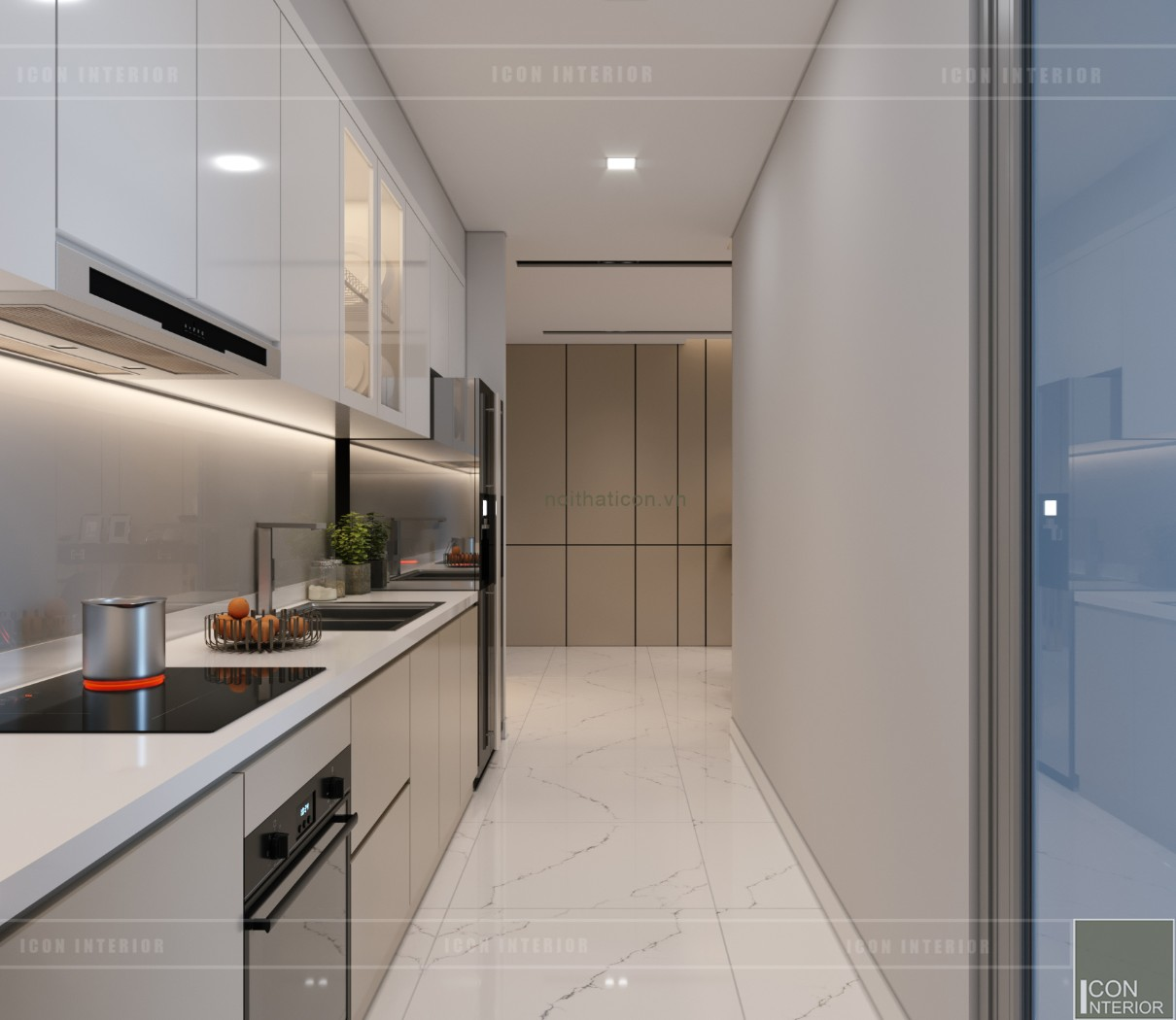 thiết kế nội thất căn hộ chung cư 90m2 - nhà bếp
