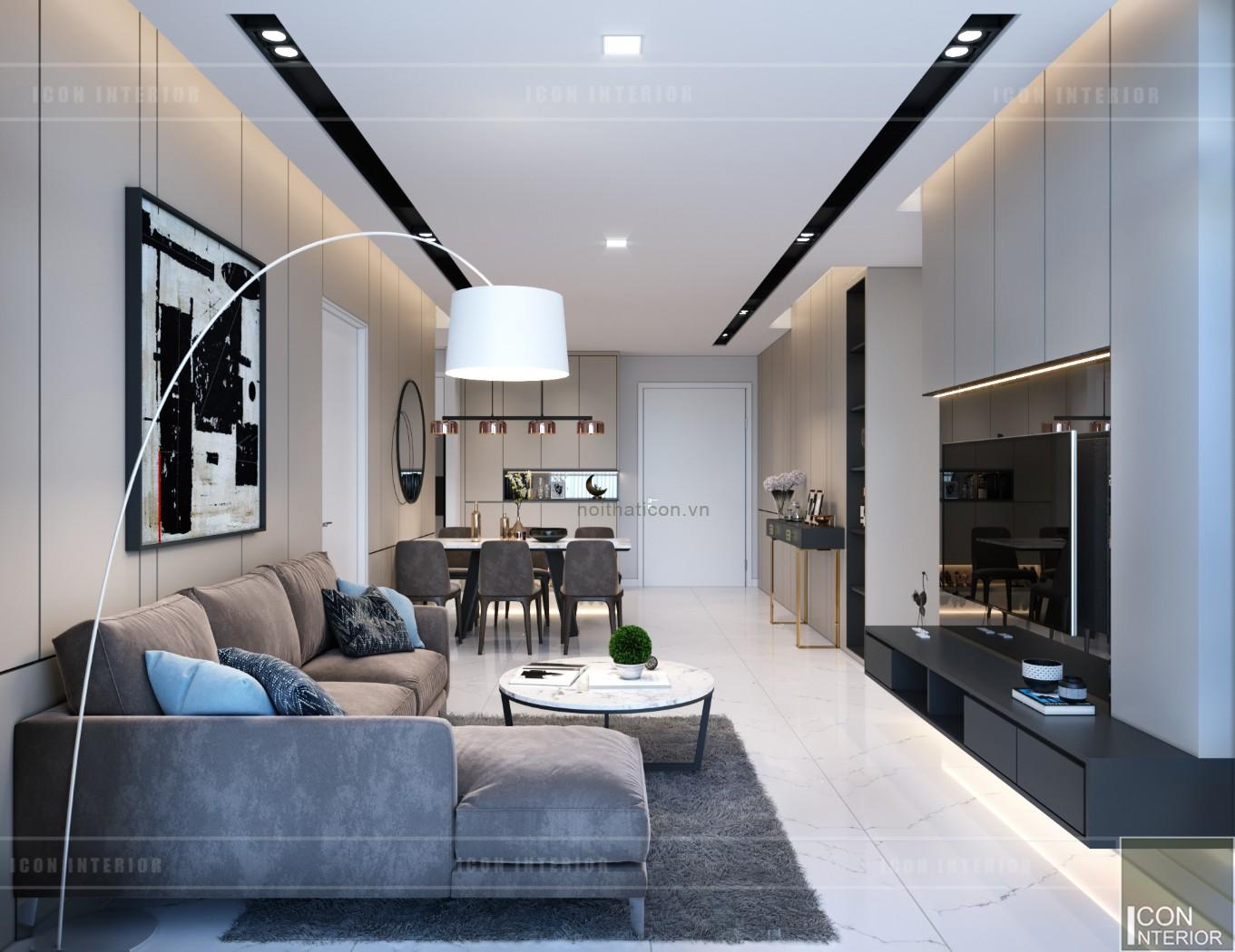 thiết kế nội thất căn hộ chung cư 90m2 phòng khách bếp