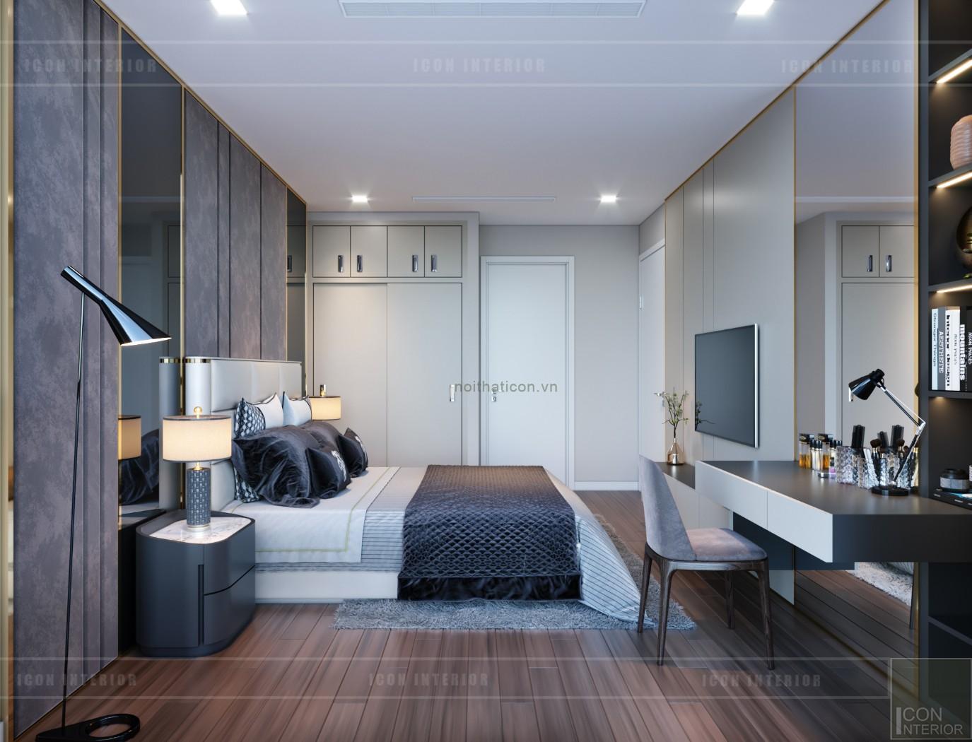 thiết kế nội thất căn hộ chung cư 90m2 - phòng matser