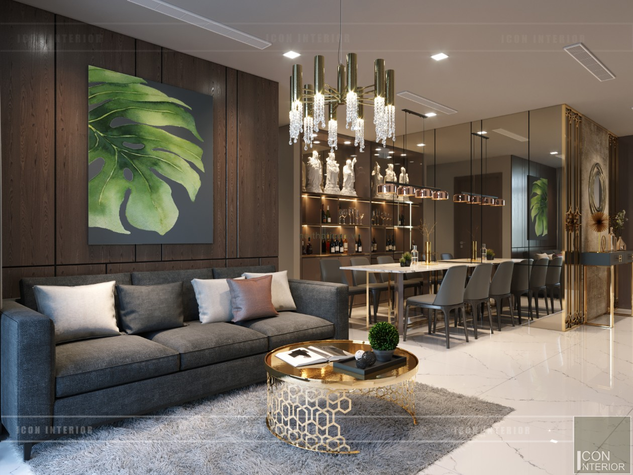 thiết kế nội thất chung cư 2 phòng ngủ - phòng khách bếp 10