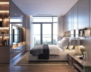 thiết kế nội thất chung cư 2 phòng ngủ - phòng ngủ master 2