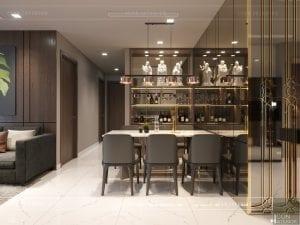 thiết kế nội thất chung cư 2 phòng ngủ - phòng khách bếp 5