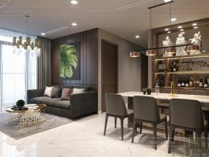 thiết kế nội thất chung cư 2 phòng ngủ - phòng khách bếp 4