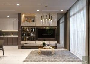 thiết kế nội thất chung cư 2 phòng ngủ - phòng khách bếp 8