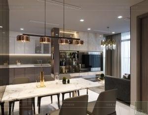 thiết kế nội thất chung cư 2 phòng ngủ - phòng khách bếp 7