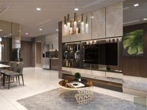 thiết kế nội thất chung cư 2 phòng ngủ - phòng khách bếp 9