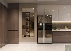 thiết kế nội thất chung cư 2 phòng ngủ - phòng khách bếp 3