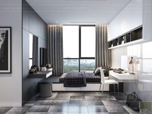 thiết kế nội thất chung cư vinhomes central park - phòng ngủ