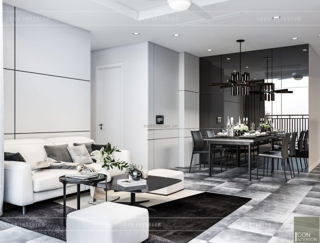 thiết kế nội thất chung cư 90m2 2 phòng ngủ
