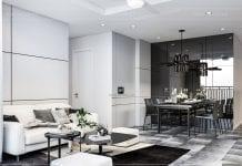 thiết kế nội thất chung cư vinhomes central park - phòng khách bếp