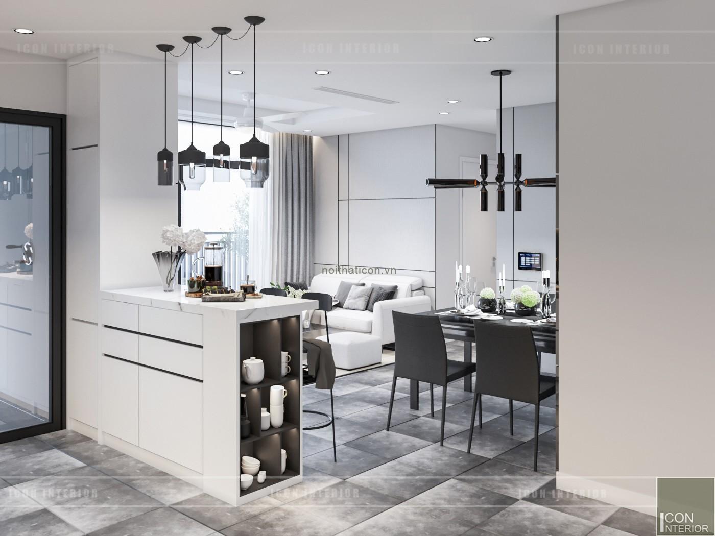 thiết kế nội thất chung cư 90m2 2PN