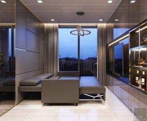 thiết kế căn hộ novaland richstar - phòng khách sofa bed