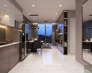 thiết kế căn hộ novaland richstar - phòng khách bếp 1