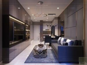 thiết kế căn hộ novaland richstar - phòng khách bếp 6