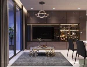 thiết kế căn hộ novaland richstar - phòng khách bếp 5