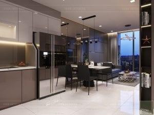 thiết kế căn hộ novaland richstar - phòng khách bếp 3