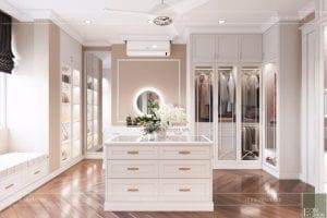 thiết kế nội thất phòng ngủ nhà phố - phòng thay đồ