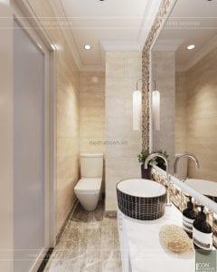thiết kế nội thất phòng ngủ nhà phố phòng vệ sinh