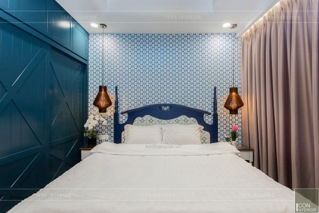 Bố trí giường ngủ đẹp Địa Trung Hải