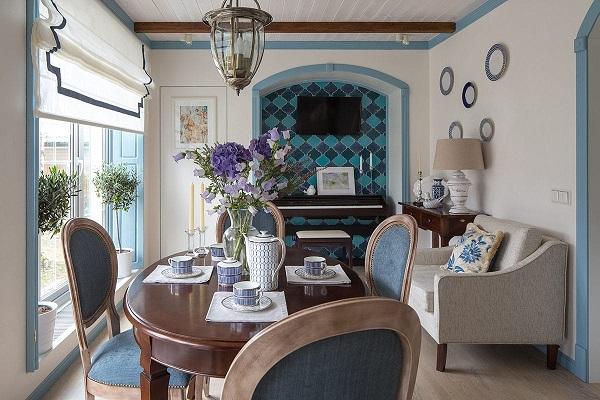phong cách địa trung hải trong nội thất phòng khách bếp