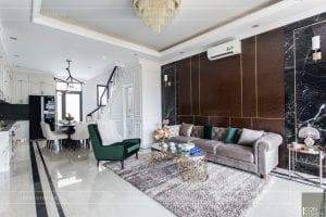 nội thất biệt thự tân cổ điển - phòng khách bếp
