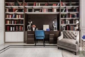 nội thất biệt thự tân cổ điển - phòng đọc sách 3
