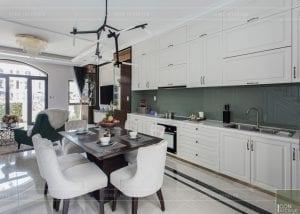 nội thất biệt thự tân cổ điển - phòng khách bếp 1
