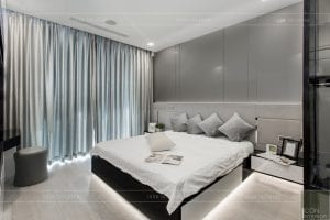 thi công căn hộ aqua 1 vinhomes golden river - phòng ngủ master 1