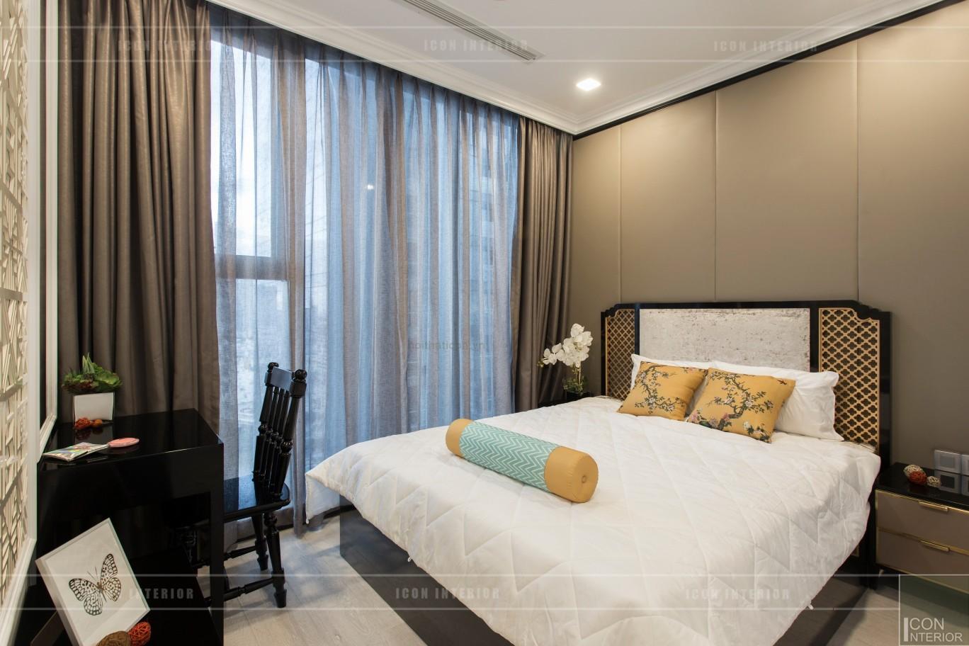 thi công nội thất gỗ phong cách Đông Dương phòng ngủ master