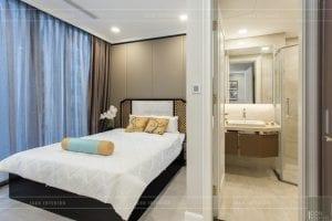 thi công nội thất gỗ phong cách Đông Dương - phòng ngủ master