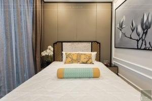 thi công nội thất gỗ phong cách Đông Dương phòng ngủ