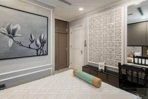 thi công nội thất gỗ phong cách Đông Dương phòng master