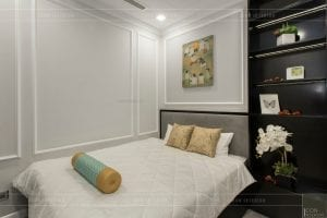 thi công nội thất gỗ phong cách Đông Dương - phòng ngủ nhỏ