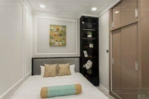 thi công nội thất gỗ phong cách Đông Dương phòng ngủ nhỏ