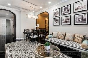 thi công nội thất gỗ phong cách Đông Dương phòng khách
