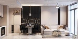 thiết kế phòng khách bếp căn hộ masteri an phú quận 2