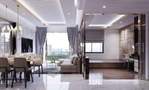 thiết kế căn hộ sunrise cityview - phòng khách bếp 2